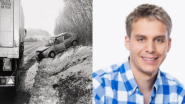 Unfallauto von Reto Scherrer und Reto Scherrer im Porträt