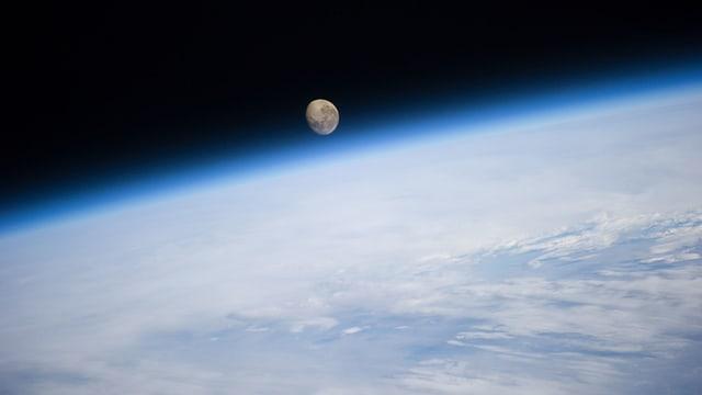 Der Mond aus Sicht der Obergrenze der Erdatmosphäre.