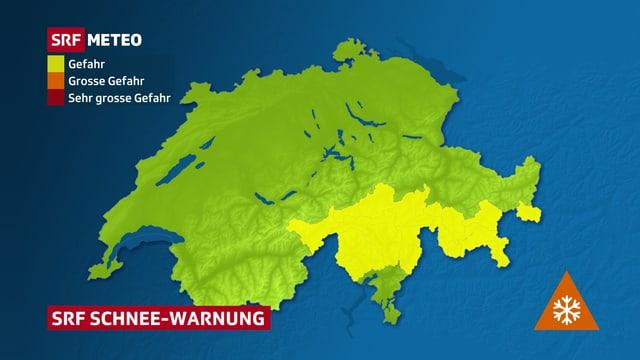 Eine Warnkarte der Schweiz zeigt eine Schneewarnung.