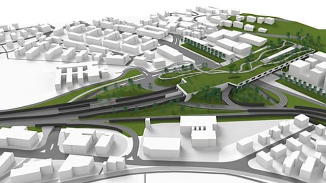 Schematische Darstellung der geplanten Erweiterung der Autobahn-Tunnelausfahrt in Kriens.