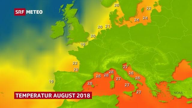Europakarte mit Wassertemperaturen von August 2018. In der Ostsee 24 Grad, im Mittelmeer 26 bis 28 Grad, lokal auch etwas mehr. Nur westlich von Irland eher zu kühl.