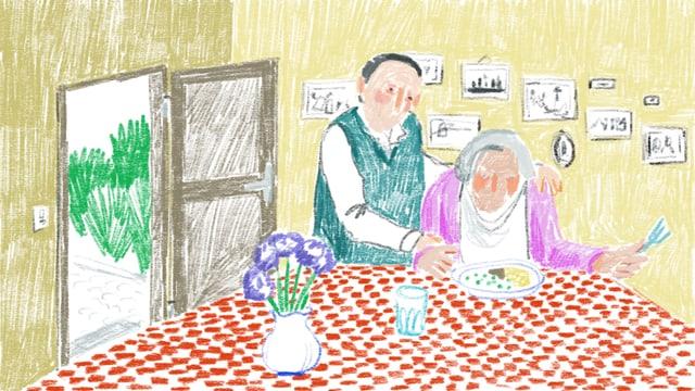 Zeichnugn von einem Mann, der einer Frau beim Essen hilft.
