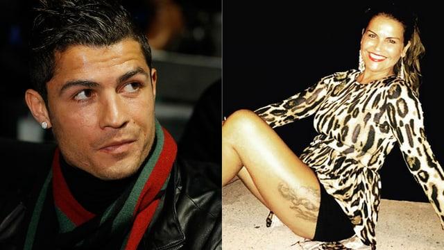 Zwei Bilder von Ronaldo und seiner Schwester Katia Aveiro.