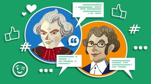 Illustration von Beethoven und seinem Vermieter