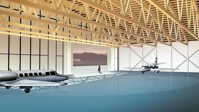 Visualisierung neuer Hangar für Flugzeuge