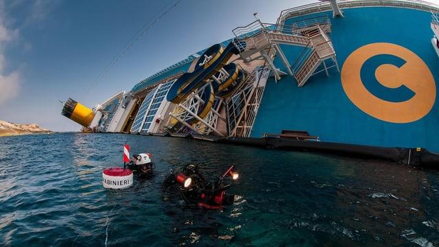 Ansicht der gekenterten Costa Concordia