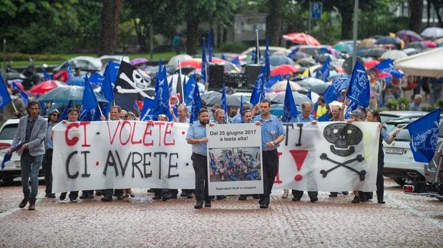 Demonstration der entlassenen Fährleute am 1. Juli 2017.