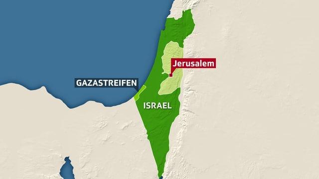 Karte Israels mit Gazastreifen, Westjordanland und Jerusalem eingezeichnet.