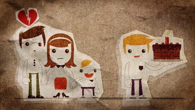 Illustration: Links stehen Vater und Mutter mit Kind, Rechts kommt ein weiterer Mann mit einer Geburtstagstorte ins Bild.