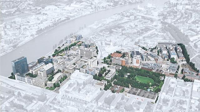Ein Stadtplan, in dem ein Teil der Häuser und Strassen weiss-grau ist und ein TEil in realistischen Farben. So wird das Areal ersichtlich.