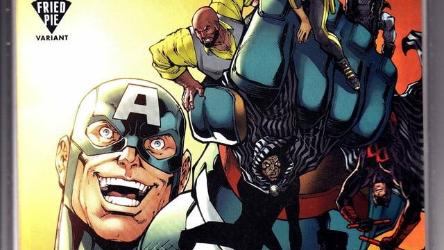Ein riesiger Captain America zerdrückt andere Helden in seiner Faust