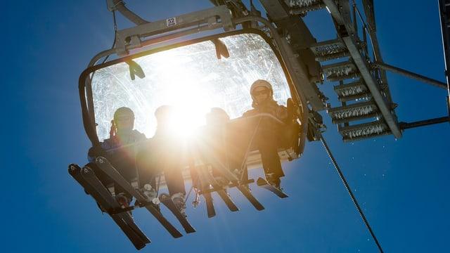 Vier Skifahrer in einer Gondel einer Sesselbahn, durch deren Haube die Sonne scheintl