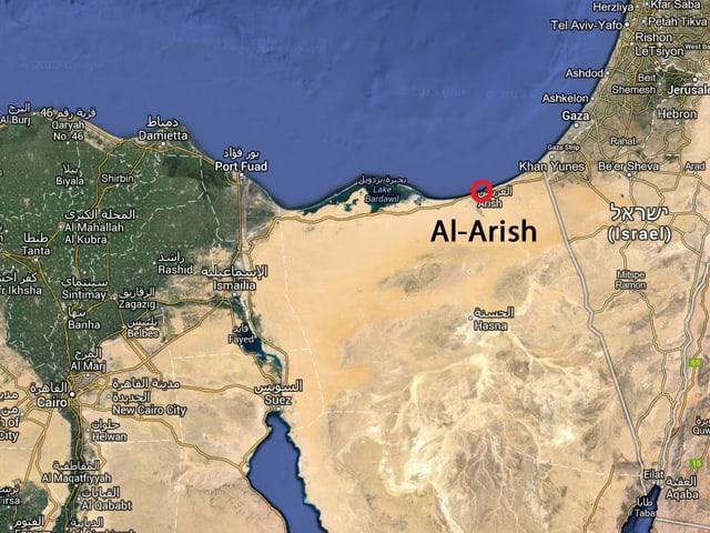 Karte des Nordens der Sinai-Halbinsel