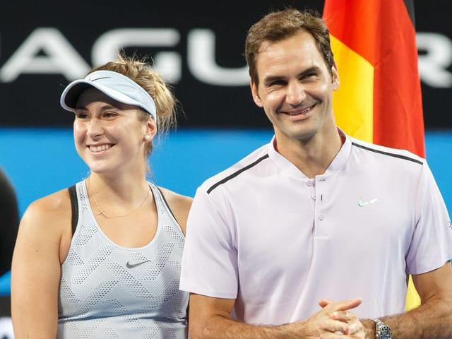 Belinda Bencic und Roger Federer am Montag in Wimbledon im Einsatz.