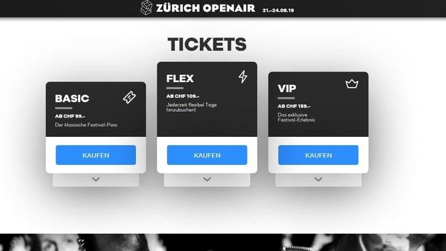 Tickets Website Zurich Openair