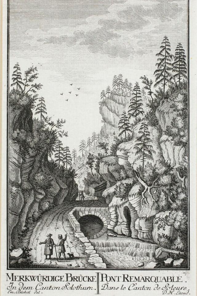 Kupferstich einer Engen Stelle mit Brücke in Tal.