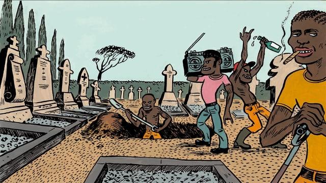 Comic: Schwarze heben ein Grab aus, hören Musik mit Ghettoblaster, rauchen, trinken.