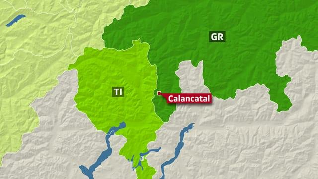 Karte mit Tessin und Graubünden