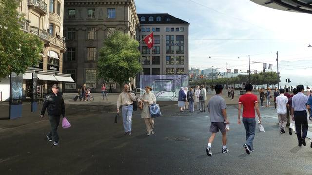 Eine Fotomontage des Schwanenplatzes mit einer Metrostation.