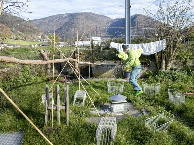 Der Künstler im Garten seines Hauses.