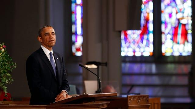 US-Präsident Obama bei der Trauerfeier in Boston.