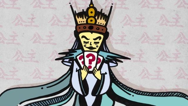 Die Zeichnung zeigt Turandot mit drei Rätselkarten.