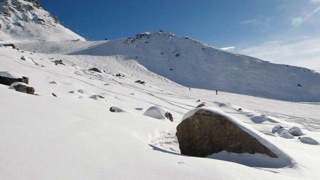 Ein grosser Fels steht am Rande einer sonnigen Skipiste.