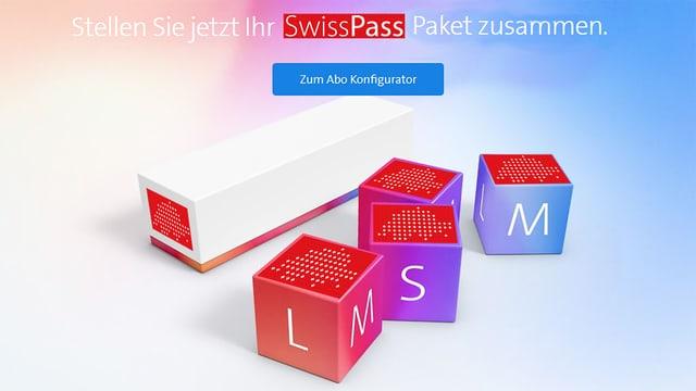 Collage aus einem Screenshot der Swisscom-Website mit S,M,L-Abos und dem Swisspass-Logo.