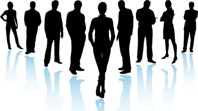 Grafik von stilisierten Frauen und Männern in schwarz auf weissem Hintergrund.
