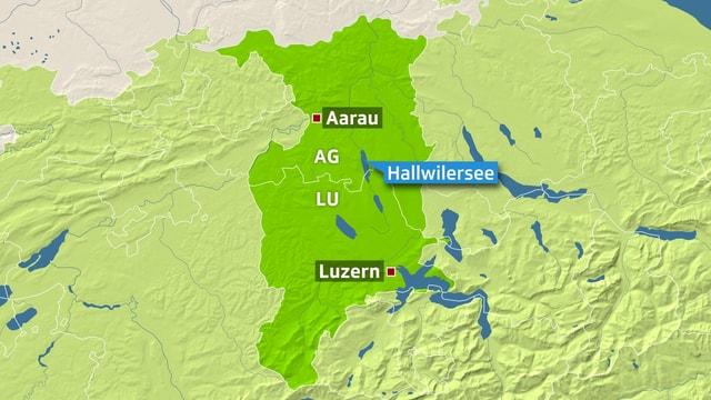Karte auf der der Hallwilersee eingezeichnet ist. Ebenfalls markiert sind die Orte Aarau und Luzern.