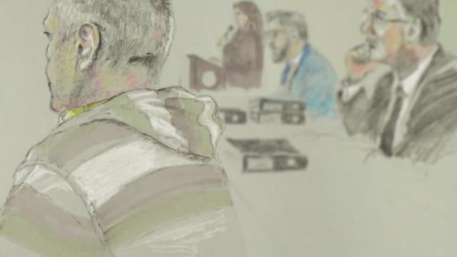 Zeichnung im Gericht