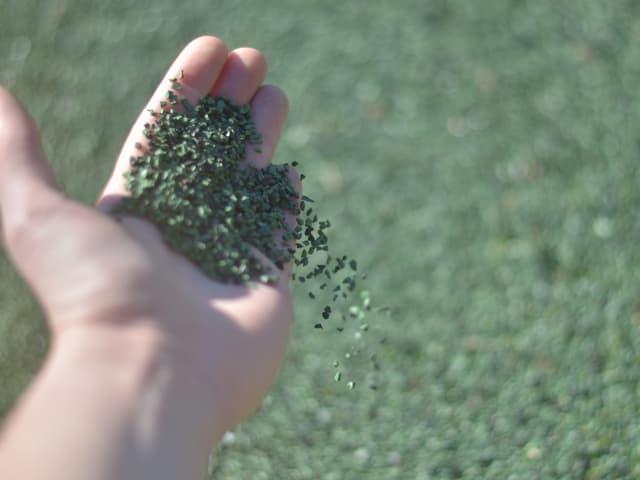 Grünes Granulat auf einer Hand