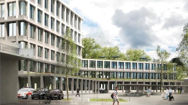 Eine Visualisierung zeigt ein graues, eckiges Gebäude, davor steht ein Polizeiauto parkiert und auf einem Platz laufen Menschen unter Bäumen.