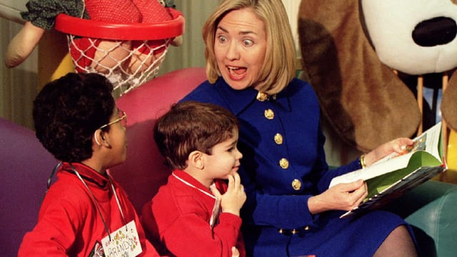 Hillary Clinton als First Lady mit Kindern