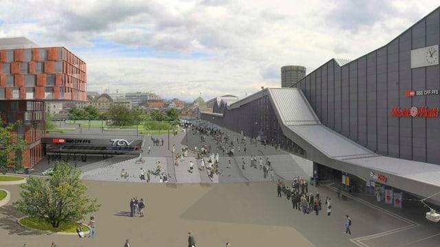 Visualisierung des Central Park Basel, dem Park über den Gleisen des Bahnhofs.