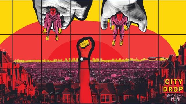 Ein Werk, das eine Stadt zeigt. Oben am Werk sind Gilbert & George zu sehen.