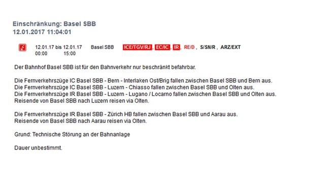 Störungsmeldung der SBB.