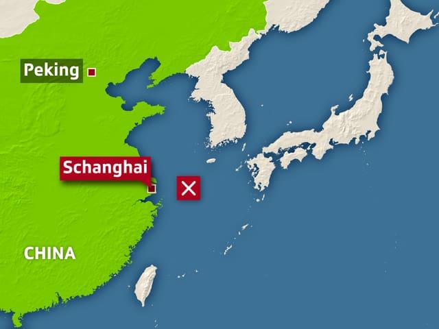 Kartenausschnitt der Küste Chinas und Südkoreas.