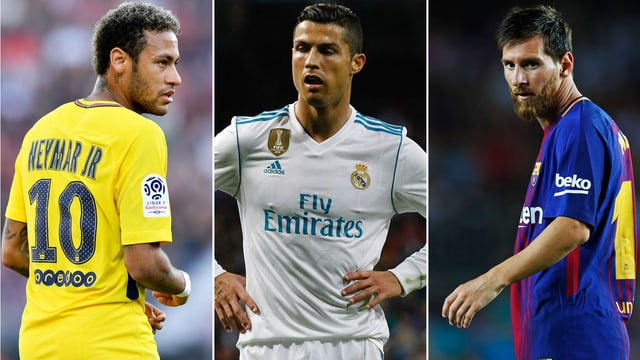Neymar (links), Cristiano Ronaldo (Mitte) und Lionel Messi.