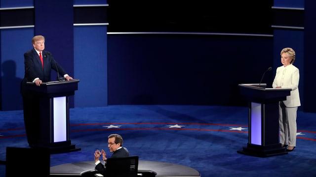 Trump und Clinton an der Debatte