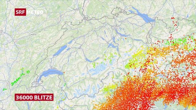 Karte der Schweiz mit den Blitzen der frühen Morgenstunden.