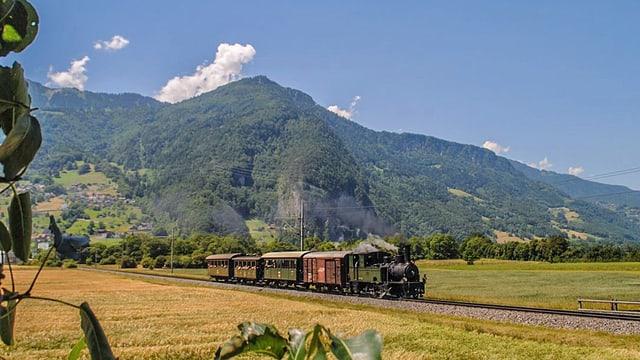 Zug fährt übers Land