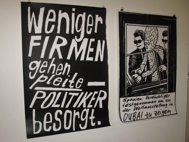 Zwei Plakate  - mit fehlegleiteten Telext-Meldungen. Wie zum Beispiel: Weniger Firmen gehen pleite - Politiker besorgt.