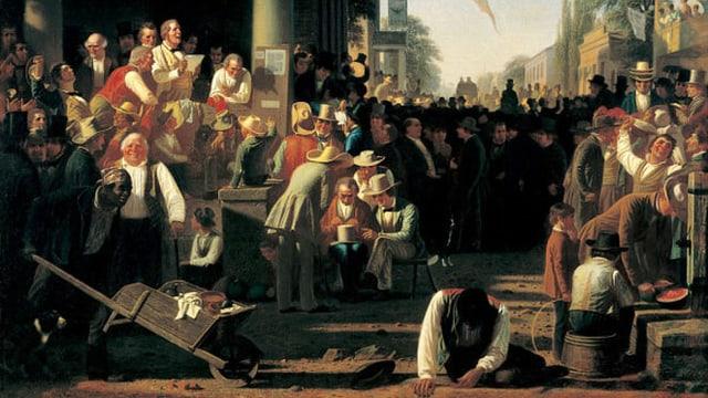 Das Gemälde von Bingham. Es zeigt eine Szene nach der Wahl.