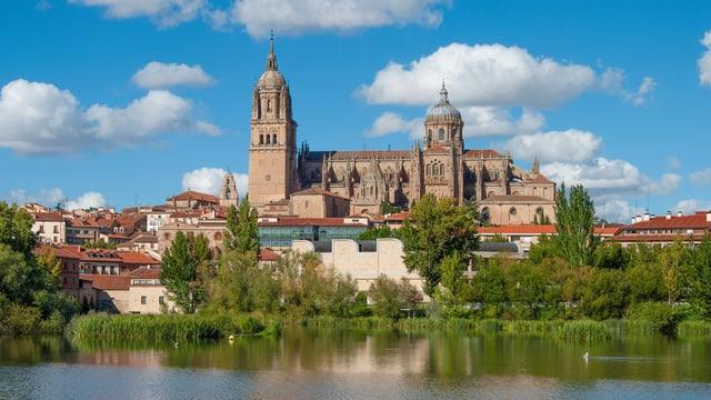 Eine Kathedrale an einem Fluss.
