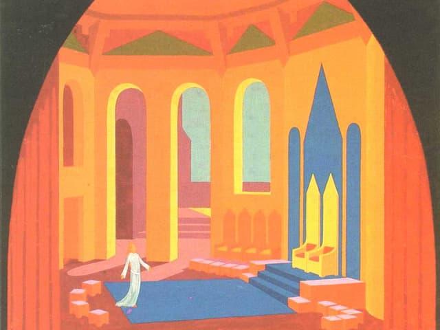 Kräftige Farben: gelb, orange. Tannhäuser in der Sängerhalle.