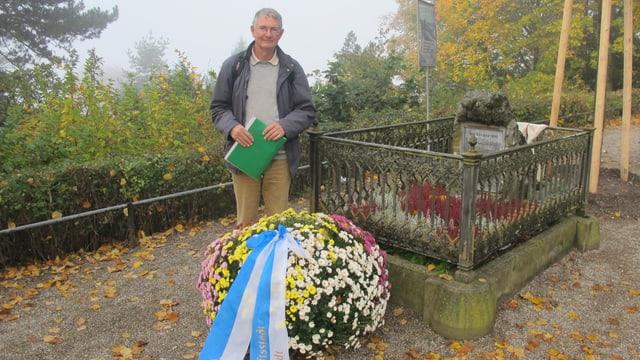 Martin Dreyfus steht er vor dem Grab von Georg Büchner auf dem Rigiblick.