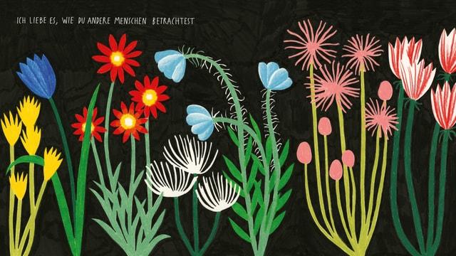 Illustration: Bunte Blumen vor schwarzem Hintergrund. Darüber die Schrift: Ich mag es, wie du die Menschen siehst.