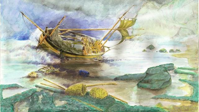 Ein Boot, dass Schiffbruch erleidete von Djamel Ameziane