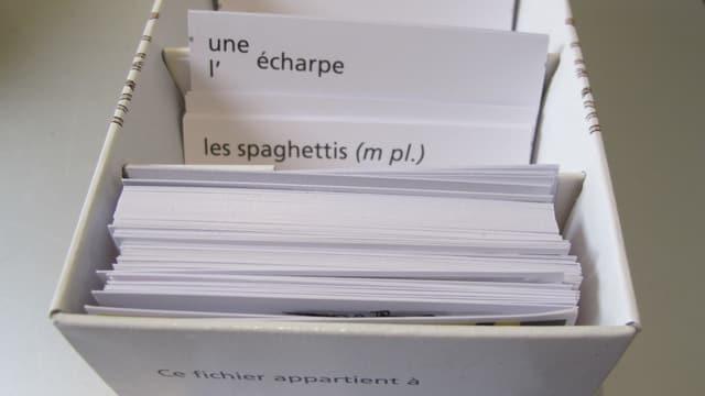 Box mit Französichwörtern